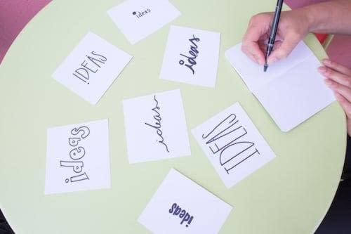 write down business name ideas and key words for your brand identity